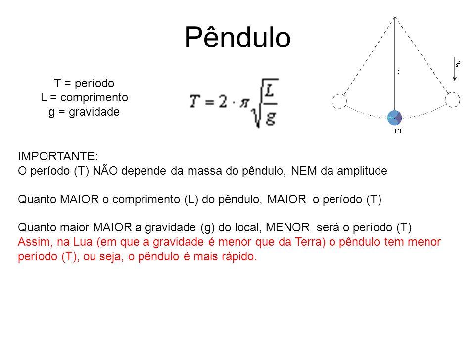Pêndulo T = período L = comprimento g = gravidade IMPORTANTE:
