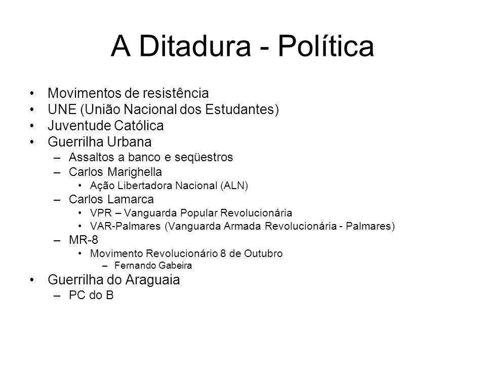 A Ditadura - Política Movimentos de resistência