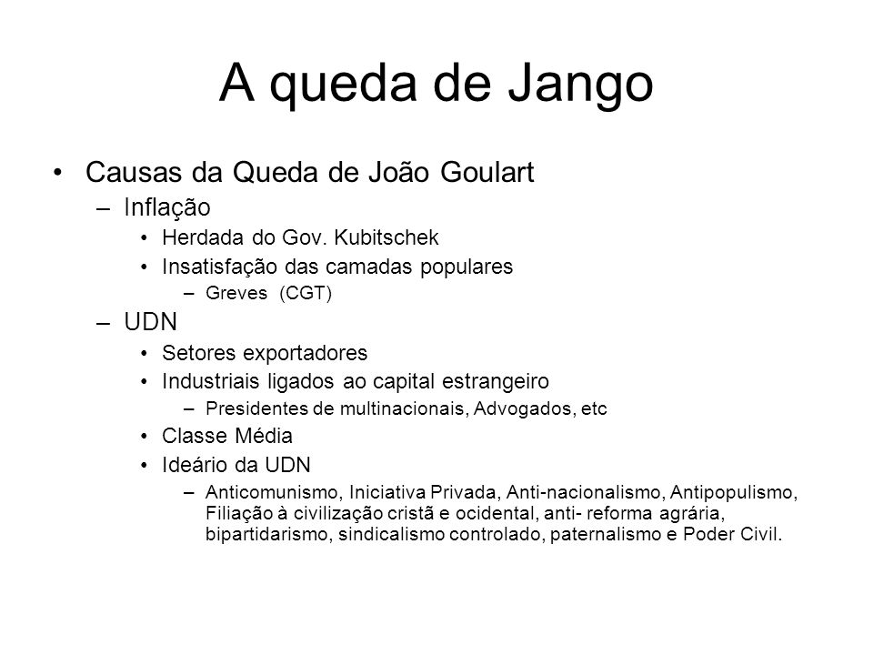 A queda de Jango Causas da Queda de João Goulart Inflação UDN