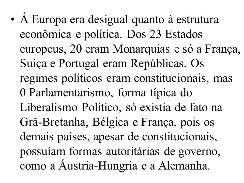 Á Europa era desigual quanto à estrutura econômica e política