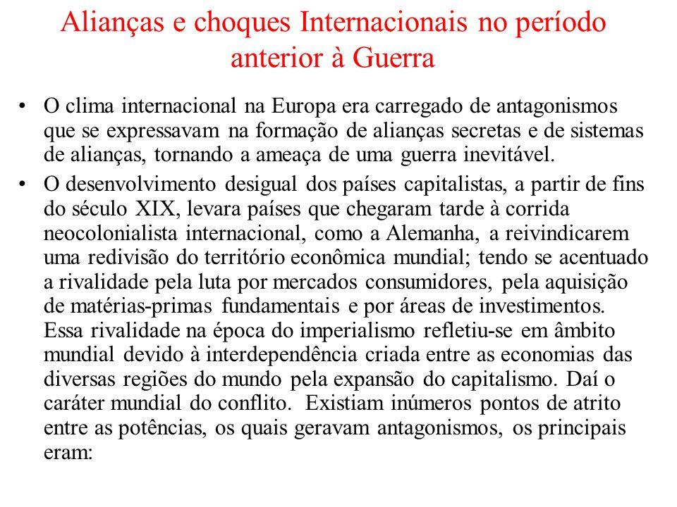 Alianças e choques Internacionais no período anterior à Guerra