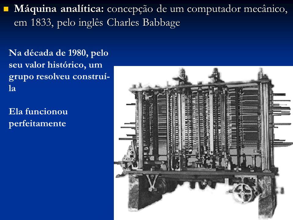 Máquina analítica: concepção de um computador mecânico, em 1833, pelo inglês Charles Babbage