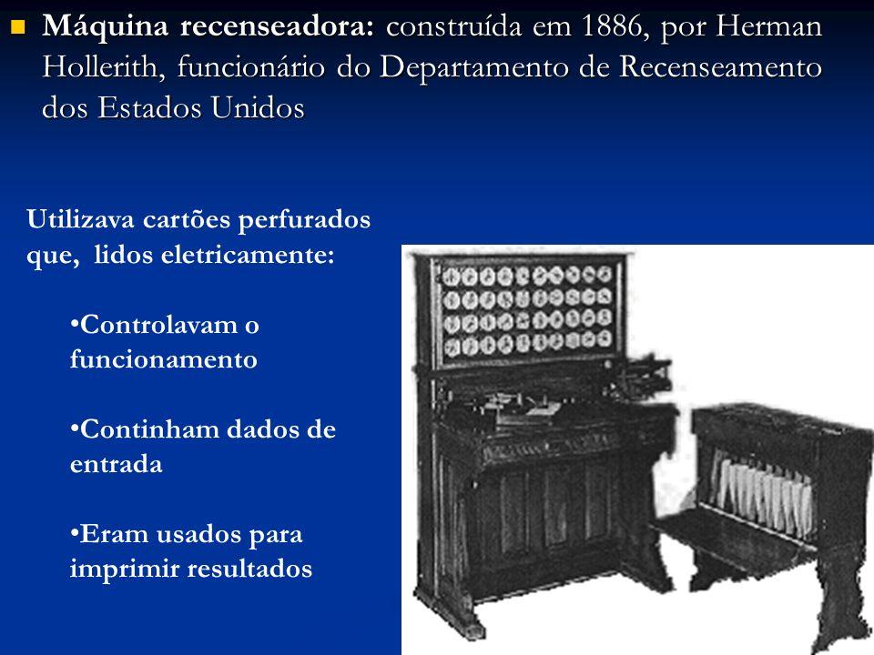 Máquina recenseadora: construída em 1886, por Herman Hollerith, funcionário do Departamento de Recenseamento dos Estados Unidos