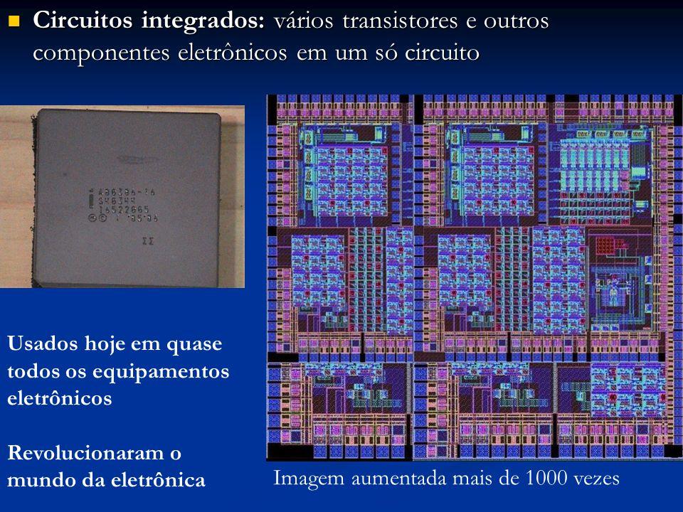Circuitos integrados: vários transistores e outros componentes eletrônicos em um só circuito
