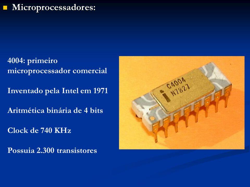 Microprocessadores: 4004: primeiro microprocessador comercial