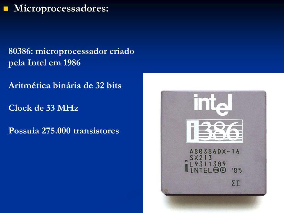 Microprocessadores: 80386: microprocessador criado pela Intel em 1986