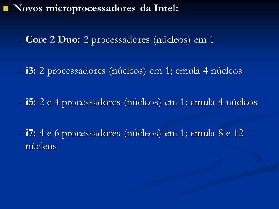 Novos microprocessadores da Intel: