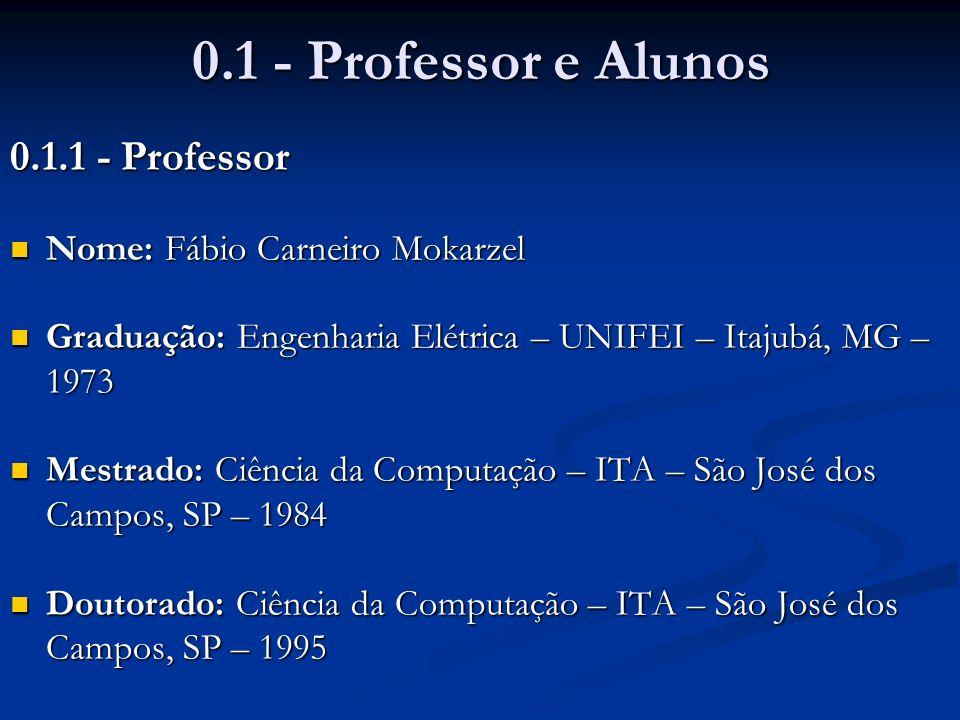 0.1 - Professor e Alunos 0.1.1 - Professor
