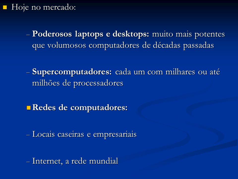 Hoje no mercado: Poderosos laptops e desktops: muito mais potentes que volumosos computadores de décadas passadas.
