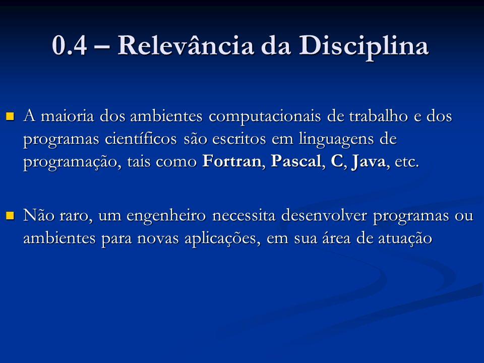 0.4 – Relevância da Disciplina