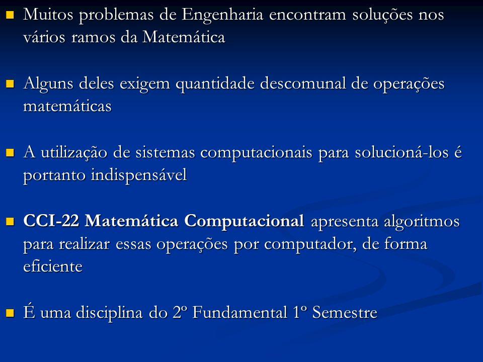 Muitos problemas de Engenharia encontram soluções nos vários ramos da Matemática