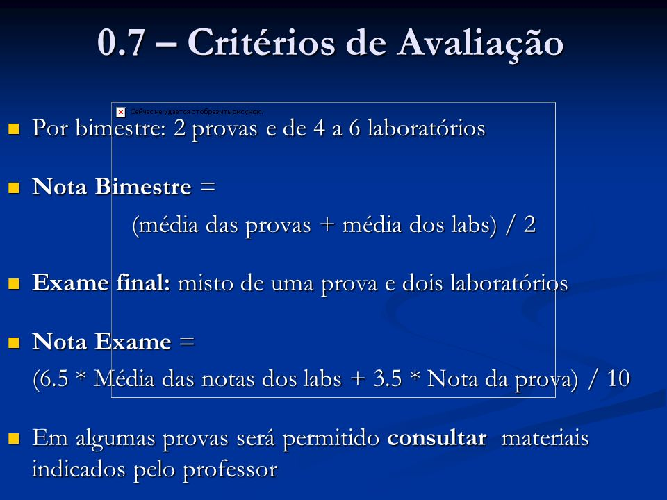 0.7 – Critérios de Avaliação