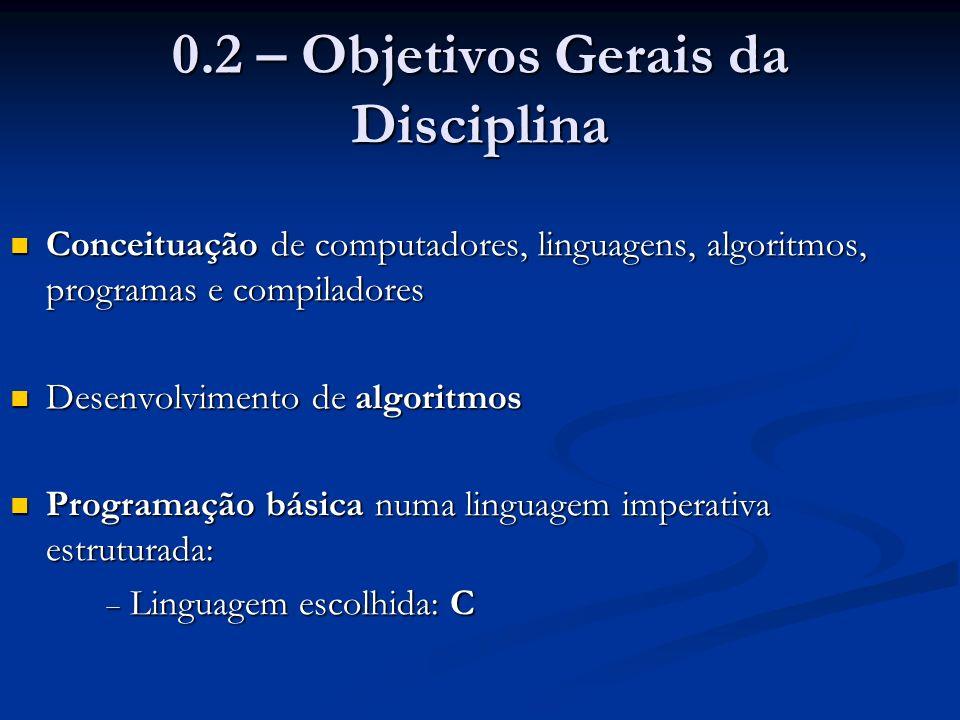 0.2 – Objetivos Gerais da Disciplina