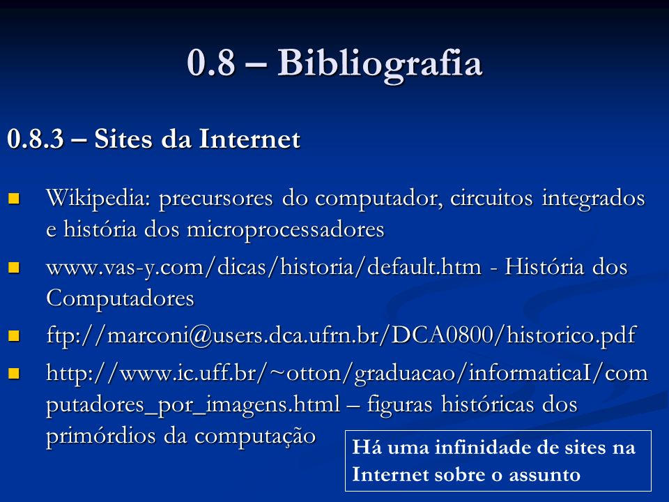 0.8 – Bibliografia 0.8.3 – Sites da Internet
