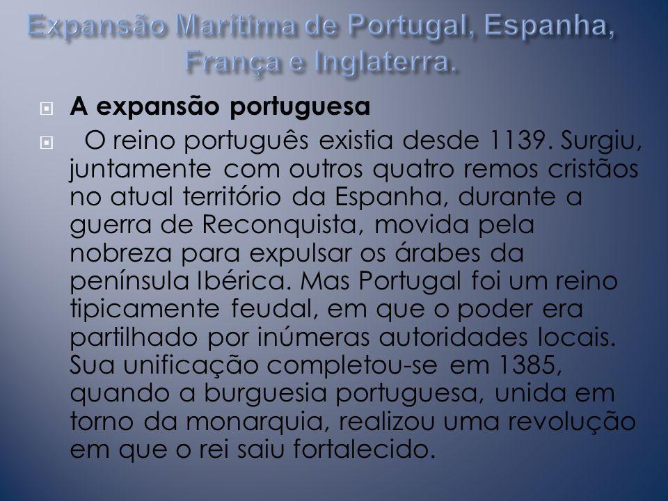 Expansão Marítima de Portugal, Espanha, França e Inglaterra.