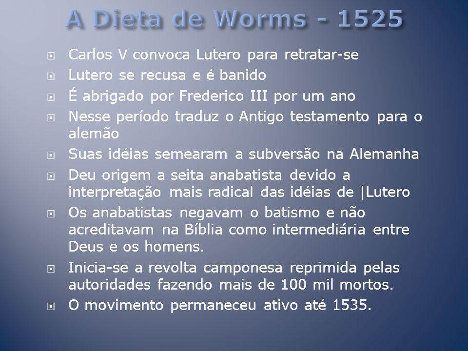 A Dieta de Worms - 1525 Carlos V convoca Lutero para retratar-se