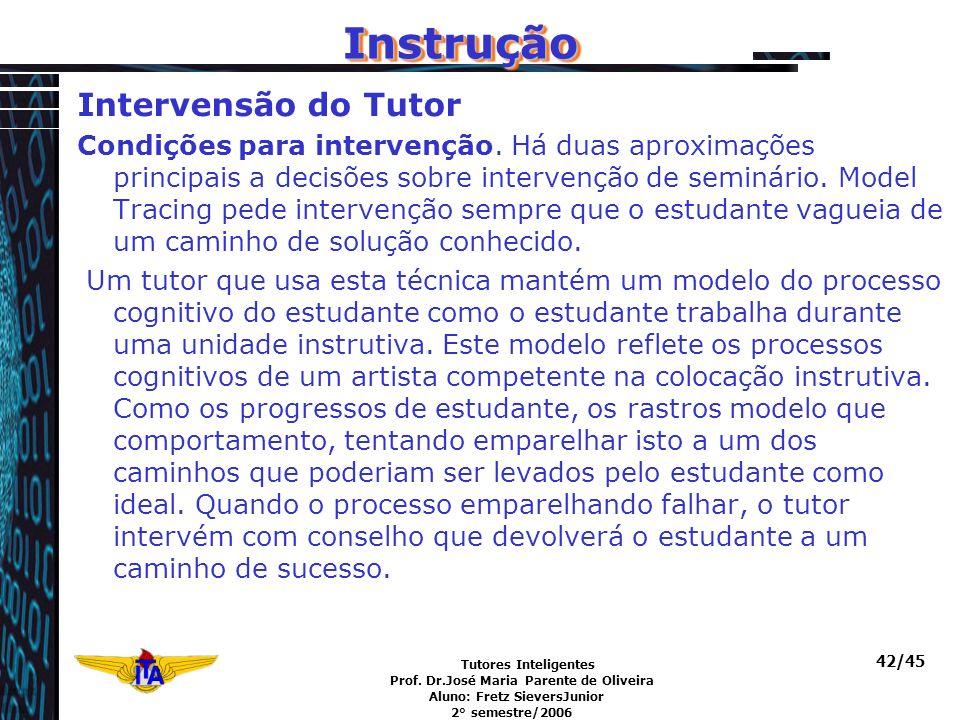 Instrução Intervensão do Tutor