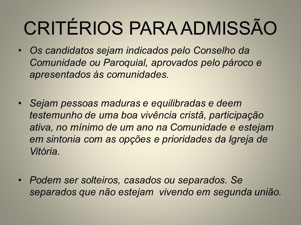 CRITÉRIOS PARA ADMISSÃO