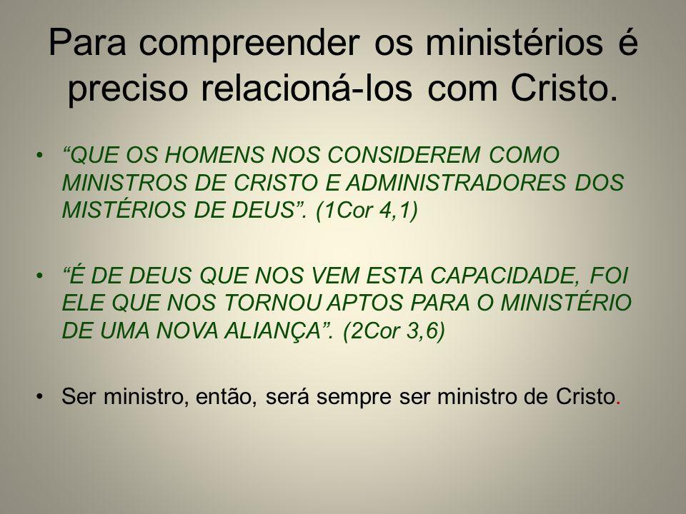 Para compreender os ministérios é preciso relacioná-los com Cristo.