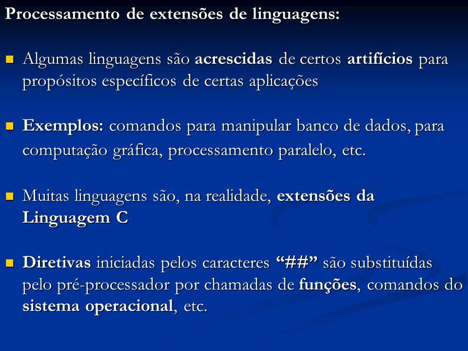 Processamento de extensões de linguagens: