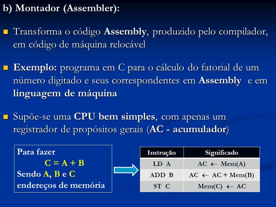 b) Montador (Assembler):
