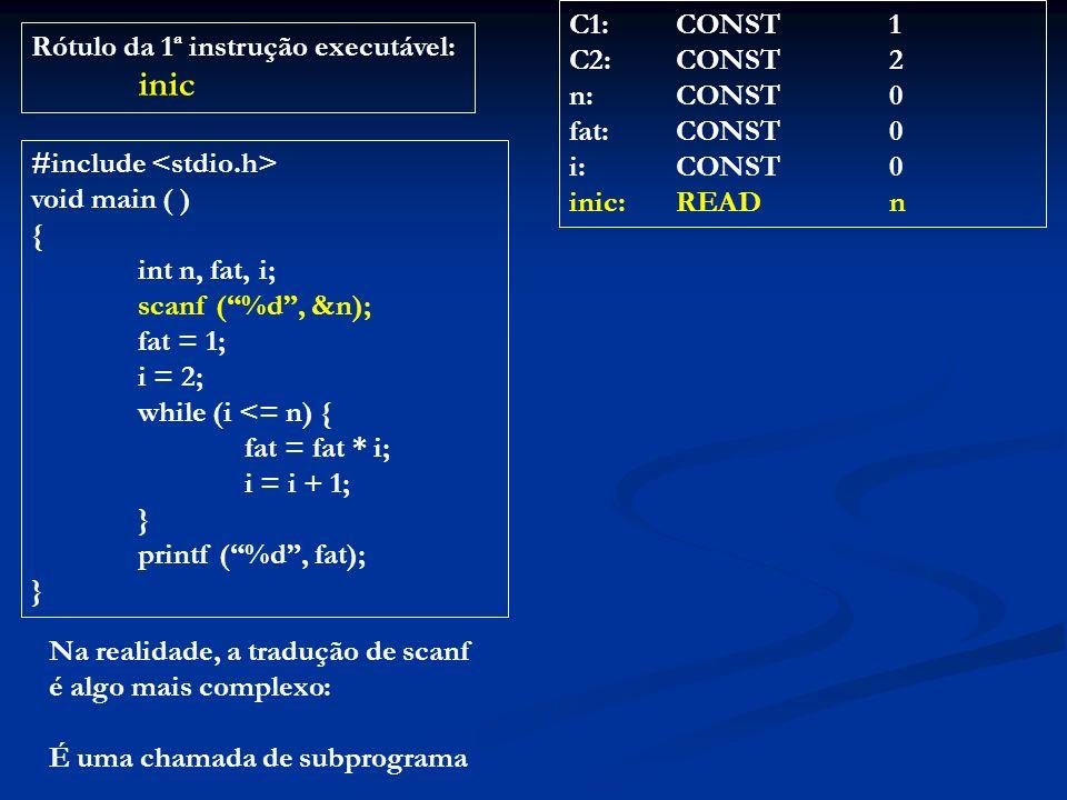 C1: CONST 1 C2: CONST 2. n: CONST 0. fat: CONST 0. i: CONST 0. inic: READ n. Rótulo da 1ª instrução executável:
