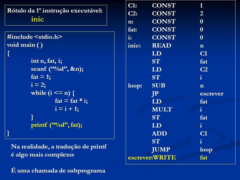 C1: CONST 1 C2: CONST 2. n: CONST 0. fat: CONST 0. i: CONST 0. inic: READ n. LD C1. ST fat.