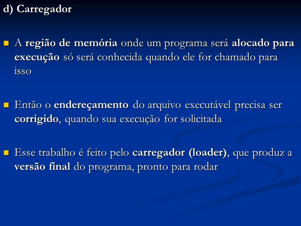 d) Carregador A região de memória onde um programa será alocado para execução só será conhecida quando ele for chamado para isso.