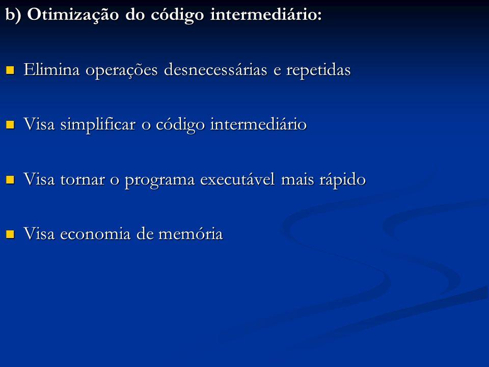b) Otimização do código intermediário: