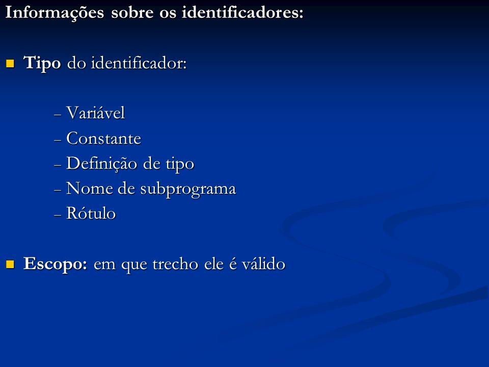 Informações sobre os identificadores:
