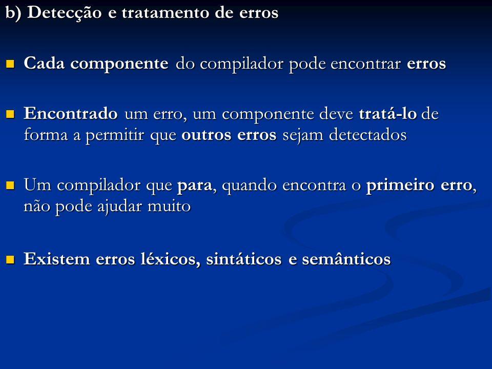 b) Detecção e tratamento de erros
