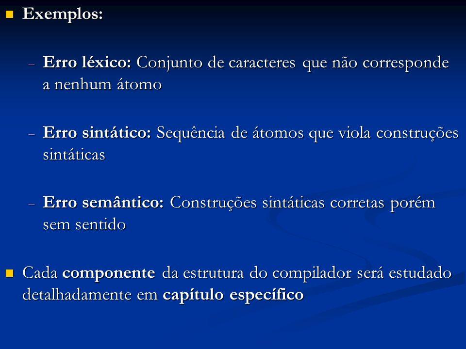 Exemplos: Erro léxico: Conjunto de caracteres que não corresponde a nenhum átomo.
