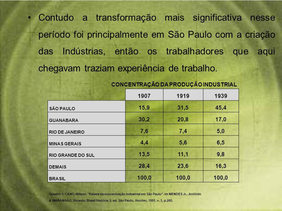 Contudo a transformação mais significativa nesse período foi principalmente em São Paulo com a criação das Indústrias, então os trabalhadores que aqui chegavam traziam experiência de trabalho.