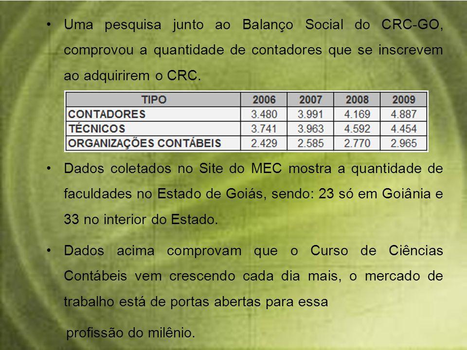 Uma pesquisa junto ao Balanço Social do CRC-GO, comprovou a quantidade de contadores que se inscrevem ao adquirirem o CRC.