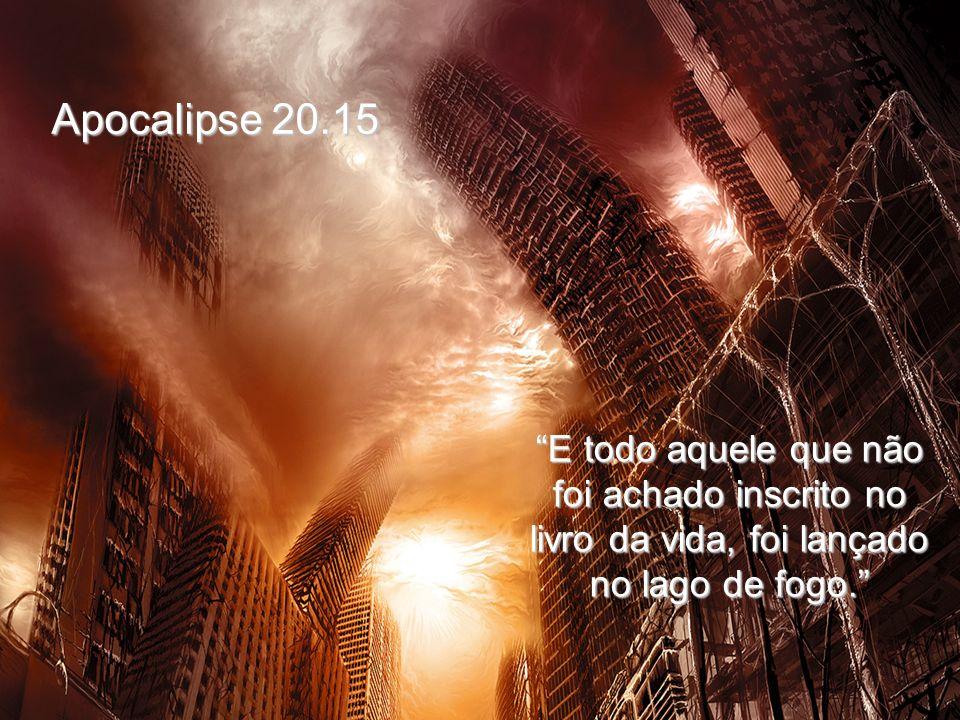 Apocalipse 20.15 E todo aquele que não foi achado inscrito no livro da vida, foi lançado no lago de fogo.
