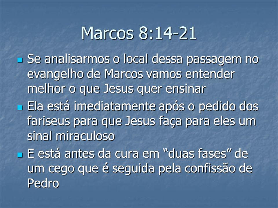 Marcos 8:14-21 Se analisarmos o local dessa passagem no evangelho de Marcos vamos entender melhor o que Jesus quer ensinar.