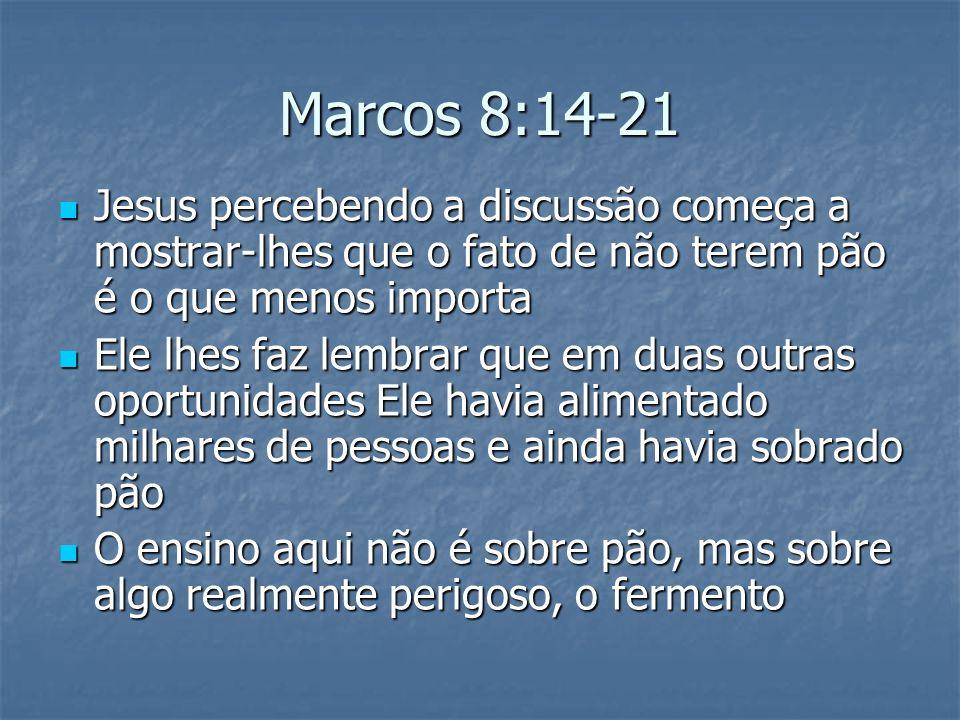 Marcos 8:14-21 Jesus percebendo a discussão começa a mostrar-lhes que o fato de não terem pão é o que menos importa.