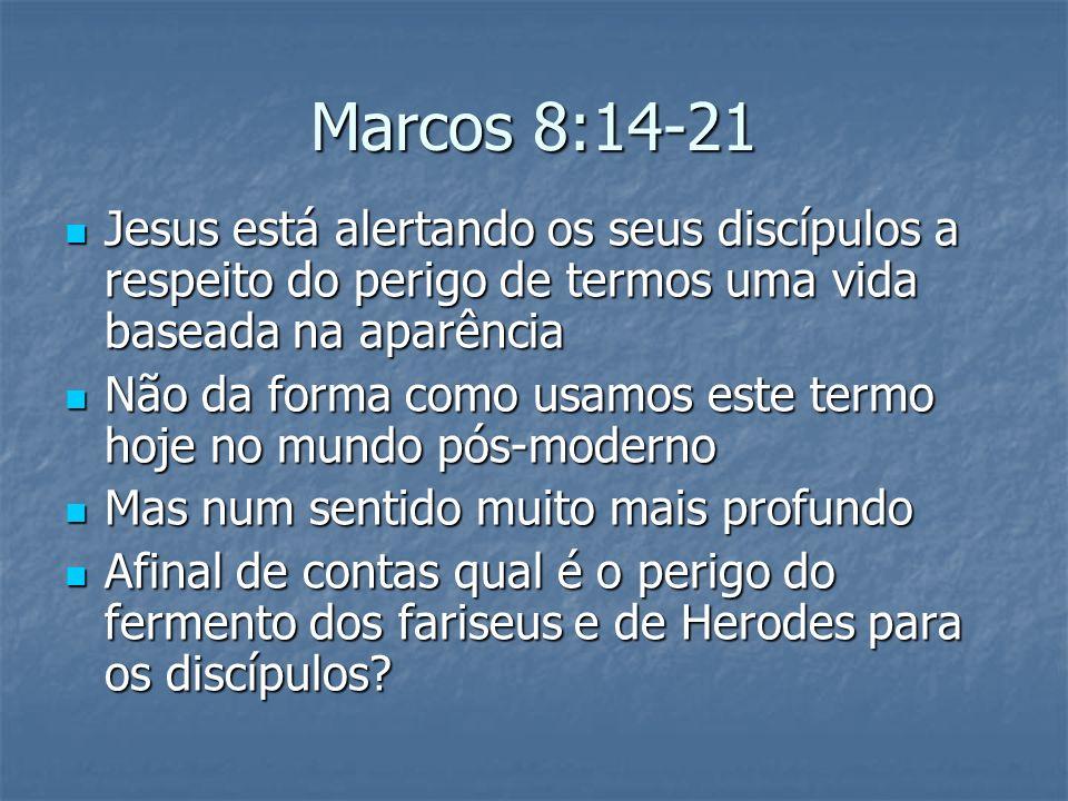 Marcos 8:14-21 Jesus está alertando os seus discípulos a respeito do perigo de termos uma vida baseada na aparência.