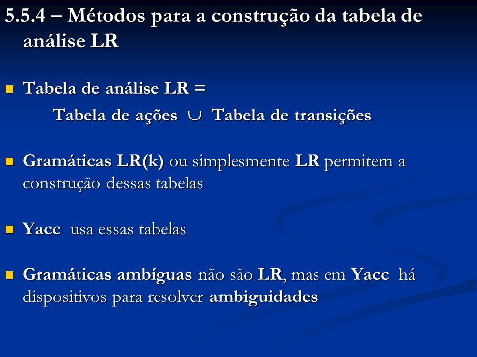 5.5.4 – Métodos para a construção da tabela de análise LR