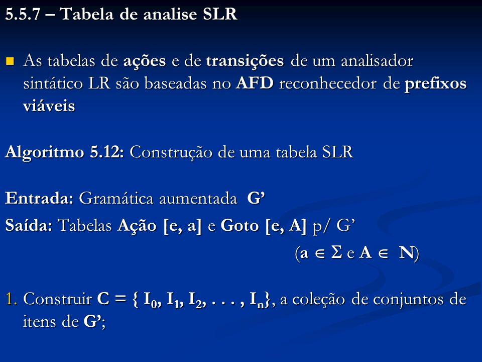 5.5.7 – Tabela de analise SLR As tabelas de ações e de transições de um analisador sintático LR são baseadas no AFD reconhecedor de prefixos viáveis.
