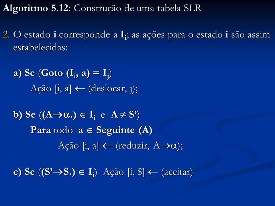 Algoritmo 5.12: Construção de uma tabela SLR