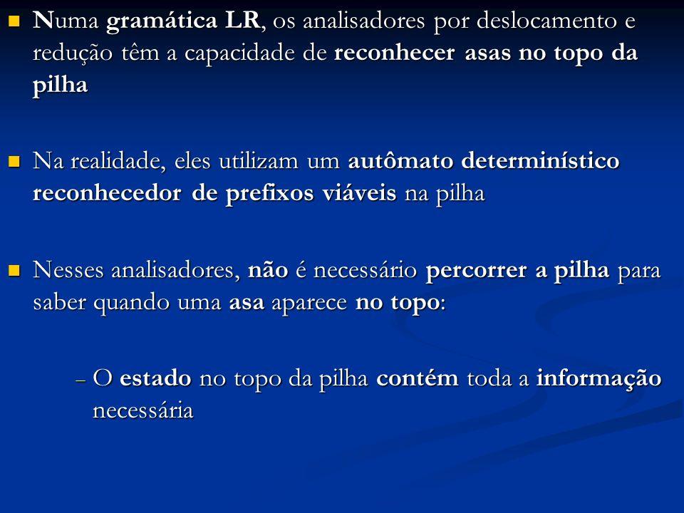 Numa gramática LR, os analisadores por deslocamento e redução têm a capacidade de reconhecer asas no topo da pilha