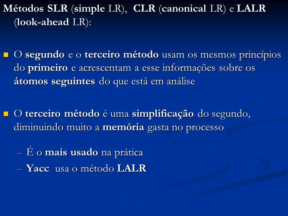 Métodos SLR (simple LR), CLR (canonical LR) e LALR (look-ahead LR):