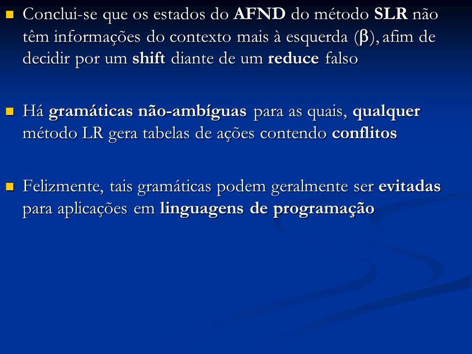 Conclui-se que os estados do AFND do método SLR não têm informações do contexto mais à esquerda (), afim de decidir por um shift diante de um reduce falso