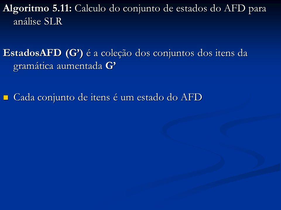 Algoritmo 5.11: Calculo do conjunto de estados do AFD para análise SLR