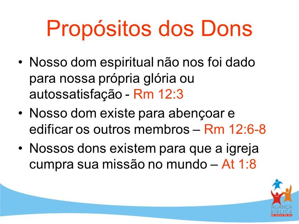 Propósitos dos DonsNosso dom espiritual não nos foi dado para nossa própria glória ou autossatisfação - Rm 12:3.