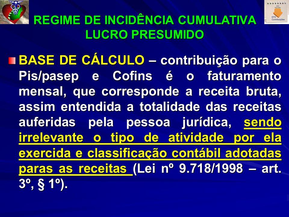 REGIME DE INCIDÊNCIA CUMULATIVA LUCRO PRESUMIDO