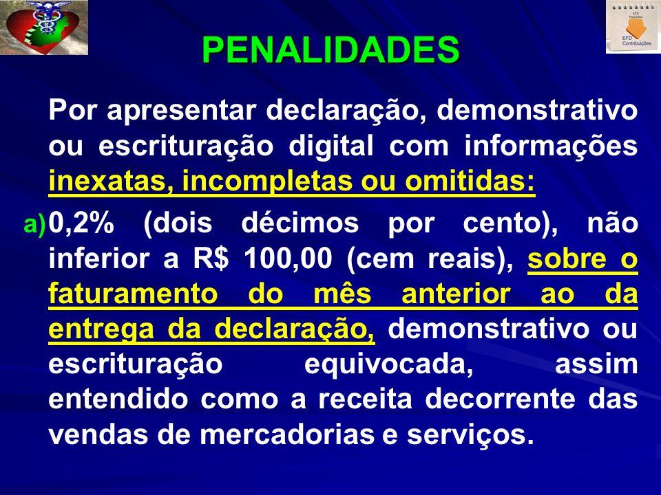 PENALIDADES Por apresentar declaração, demonstrativo ou escrituração digital com informações inexatas, incompletas ou omitidas: