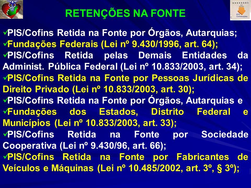 RETENÇÕES NA FONTE PIS/Cofins Retida na Fonte por Órgãos, Autarquias;