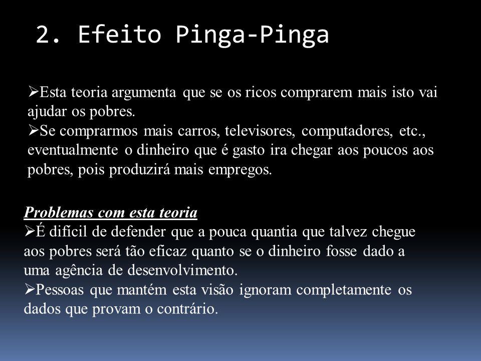 2. Efeito Pinga-Pinga Esta teoria argumenta que se os ricos comprarem mais isto vai ajudar os pobres.